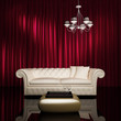 Vintage luxury chic hotel interior, red curtains gold table