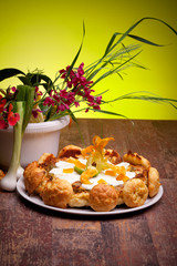 Gougère Cake With Vegetables And Spring Flowers