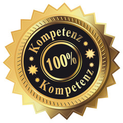 100% Kompetenz - Button gold