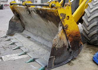 bulldozer,pelleteuse,godet,jaune,chantier