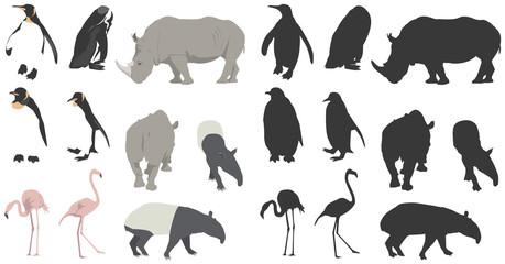 四種の動物・鳥とそのシルエット