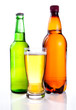 Isolated Glass Beer in plastic bottle and glass green bottles wi