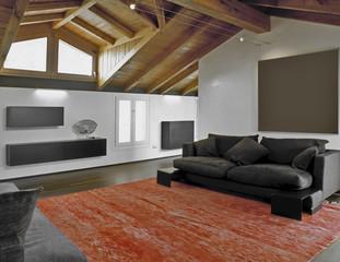 soggiorno moderno in mansarda e tappeto rosso