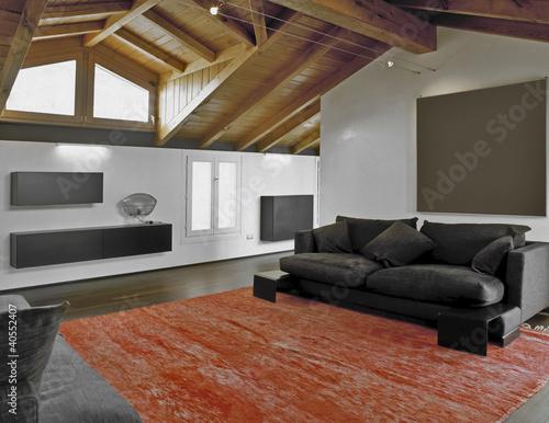Soggiorno moderno in mansarda e tappeto rosso di adpephoto for Tappeto moderno soggiorno