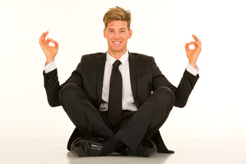 businessman doing yoga