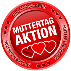 Button Muttertagaktion Herzen rot