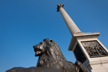 London, bronze lion and Nelson's memorial on Trafalgar square