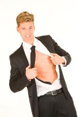 businessman unbuttons the shirt