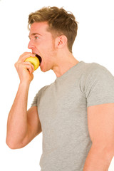 young maneating an apple