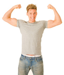 young man showing his biceps