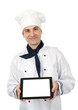 Chef showing a tablet pc with blank screen