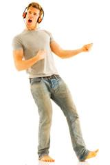 young man with headphones dancing