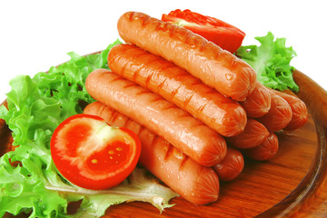 beef red sausages on plate