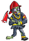 Cartoon zombie fireman with axe