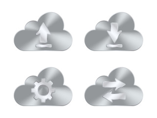 Set of metal cloud icons. Vector illustration