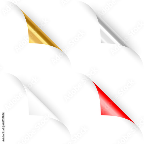 Set of four curled paper corners. Vector illustration
