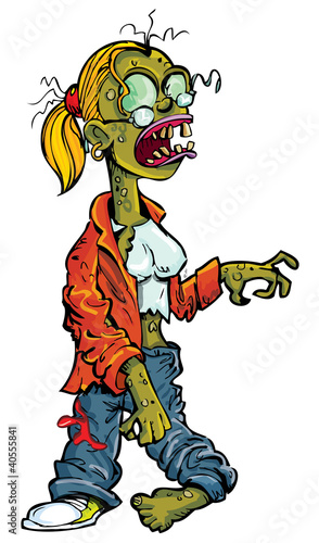 Cartoon zombie woman with glasses