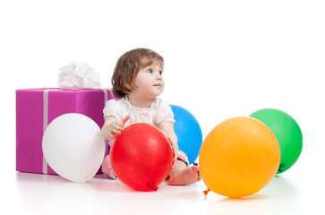 girl  with colorful balloons and gift. Isolated on white.