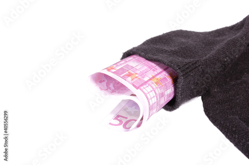 Euro money stock in a sock