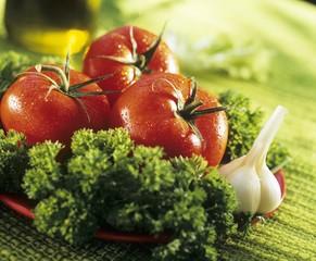 Salad ingredients: tomatoes, garlic, parsley