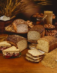 Loaves of Sliced Bread; Nuts and Grains