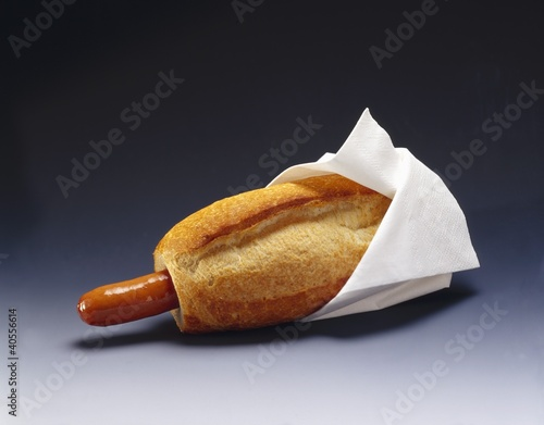 Hot dog with white napkin