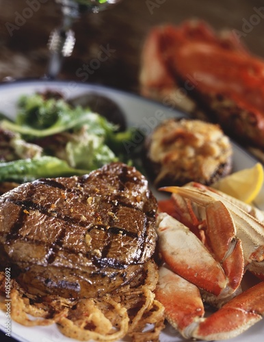 Surf and Turf; Grilled Steak and Crab Legs