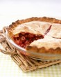 Cherry Pie with Slice Removed; In Baking Dish
