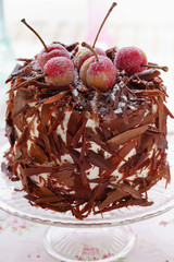 Black Forest cherry gateau with marzipan cherries