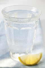Glass of water and wedge of lemon