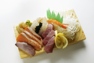 Sashimi with salmon and tuna