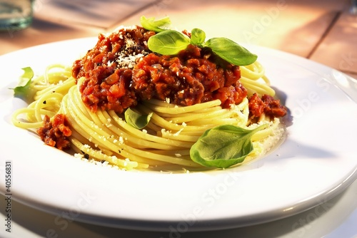 Spaghetti bolognese with basil