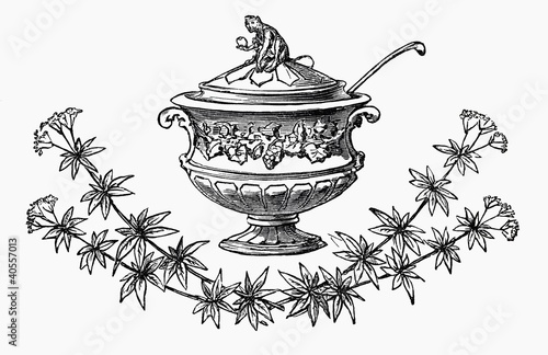 Festive soup tureen (illustration)
