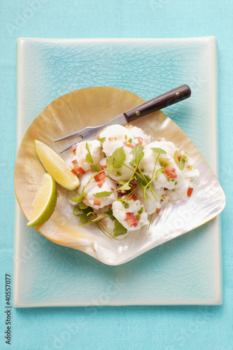 Ceviche: fish fillet with coriander and peppers