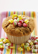 Muffin with candies