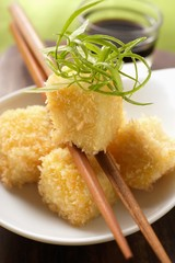 Breaded tofu with strips of spring onion (Japan)