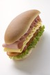 Ham, cheese, tomato and lettuce sandwich