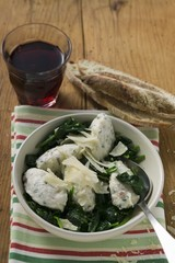 Ricotta & mortadella gnocchi with spinach & Parmesan, red wine