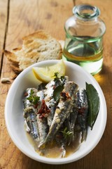 Fried anchovies with dried tomatoes (Calabria)