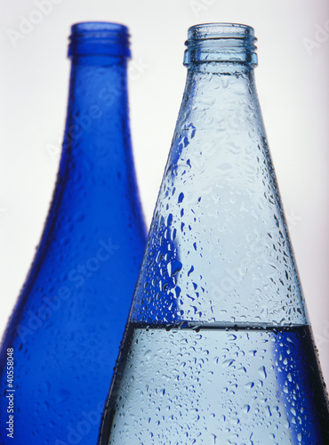 Two blue water bottles (close-up)