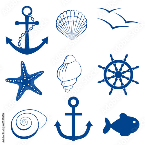 Sea set shell fish anchor wheel starfish