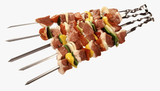Raw shashlik kebabs