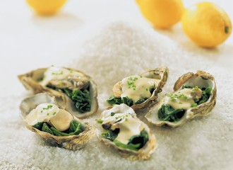 Five oysters with spinach and Prosecco cream sauce