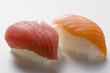 Nigiri sushi with tuna and salmon