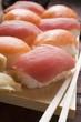Nigiri sushi with tuna and salmon