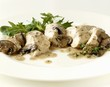 Chicken breast with mushroom sauce and salad