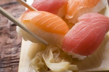 Nigiri sushi with chopsticks
