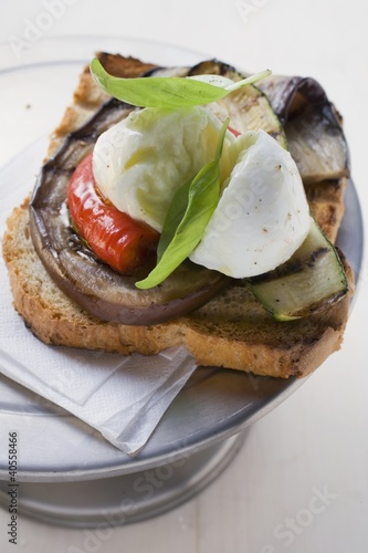 Vegetables and mozzarella on slice of grilled bread