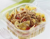 Pasta salad with tuna in plastic container