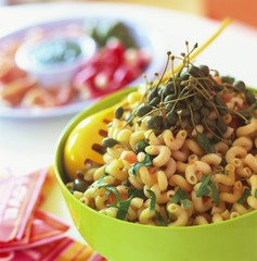 Pasta with capers and basil